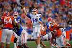 Florida Gators quarterback Luke Del Rio throws downfield as the University of Florida Gators fotball team scrimmages for the final time this spring in the annual Orange and Blue Debut at Ben Hill Griffin Stadium.  April 8th, 2016.  Gator Country Photo by David Bowie.