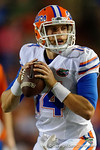 Florida Gators quarterback Luke Del Rio drops back to pass as the University of Florida Gators fotball team scrimmages for the final time this spring in the annual Orange and Blue Debut at Ben Hill Griffin Stadium.  April 8th, 2016.  Gator Country Photo by David Bowie.