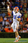 Florida Gators quarterback Austin Appleby throws downfield as the University of Florida Gators fotball team scrimmages for the final time this spring in the annual Orange and Blue Debut at Ben Hill Griffin Stadium.  April 8th, 2016.  Gator Country Photo by David Bowie.