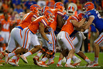 Florida Gators running back Mark Herndon rushing upfield, as the University of Florida Gators fotball team scrimmages for the final time this spring in the annual Orange and Blue Debut at Ben Hill Griffin Stadium.  April 8th, 2016.  Gator Country Photo by David Bowie.