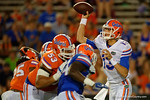 Florida Gators quarterback Feleipe Franks throwing an interception as the University of Florida Gators fotball team scrimmages for the final time this spring in the annual Orange and Blue Debut at Ben Hill Griffin Stadium.  April 8th, 2016.  Gator Country Photo by David Bowie.
