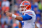 Florida Gators quarterback Luke Del Rio calling out a play, as the University of Florida Gators fotball team scrimmages for the final time this spring in the annual Orange and Blue Debut at Ben Hill Griffin Stadium.  April 8th, 2016.  Gator Country Photo by David Bowie.