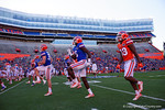 Florida Gators wide receivers Ahmad Fulwood and Alvin Bailey warm up as the University of Florida Gators fotball team scrimmages for the final time this spring in the annual Orange and Blue Debut at Ben Hill Griffin Stadium.  April 8th, 2016.  Gator Country Photo by David Bowie.