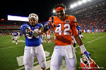 Florida Gators defensive lineman Cece Jefferson and Florida Gators defensive lineman Jordan Smith pose for the camera, as the University of Florida Gators fotball team scrimmages for the final time this spring in the annual Orange and Blue Debut at Ben Hill Griffin Stadium.  April 8th, 2016.  Gator Country Photo by David Bowie.