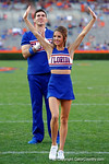 The Florida Gator cheerleaders cheer on as the University of Florida Gators fotball team scrimmages for the final time this spring in the annual Orange and Blue Debut at Ben Hill Griffin Stadium.  April 8th, 2016.  Gator Country Photo by David Bowie.