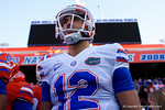 Florida Gators quarterback Austin Appleby gets set to take the field for the first time as a Gator, as the University of Florida Gators fotball team scrimmages for the final time this spring in the annual Orange and Blue Debut at Ben Hill Griffin Stadium.  April 8th, 2016.  Gator Country Photo by David Bowie.