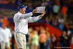 Florida Gators offensive coordinator Doug Nussmeier shouting out directions, as the University of Florida Gators fotball team scrimmages for the final time this spring in the annual Orange and Blue Debut at Ben Hill Griffin Stadium.  April 8th, 2016.  Gator Country Photo by David Bowie.