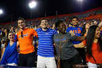 Gator fans cheer on as the University of Florida Gators fotball team scrimmages for the final time this spring in the annual Orange and Blue Debut at Ben Hill Griffin Stadium.  April 8th, 2016.  Gator Country Photo by David Bowie.
