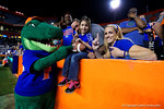 Albert the Gator poses with the fans as the University of Florida Gators fotball team scrimmages for the final time this spring in the annual Orange and Blue Debut at Ben Hill Griffin Stadium.  April 8th, 2016.  Gator Country Photo by David Bowie.