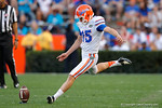 Florida Gators kicker Eddy Pineiro kicking off, as the University of Florida Gators fotball team scrimmages for the final time this spring in the annual Orange and Blue Debut at Ben Hill Griffin Stadium.  April 8th, 2016.  Gator Country Photo by David Bowie.