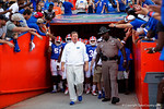 Florida Gators head coach Jim McElwain leads his team out of the locker room, as the University of Florida Gators fotball team scrimmages for the final time this spring in the annual Orange and Blue Debut at Ben Hill Griffin Stadium.  April 8th, 2016.  Gator Country Photo by David Bowie.