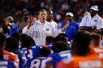 Florida Gators head coach Jim McElwain talks with his team after the game as the University of Florida Gators fotball team scrimmages for the final time this spring in the annual Orange and Blue Debut at Ben Hill Griffin Stadium.  April 8th, 2016.  Gator Country Photo by David Bowie.