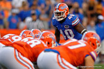 Florida Gators linebacker Jarrad Davis looks over the offensive line of the orange squad, as the University of Florida Gators fotball team scrimmages for the final time this spring in the annual Orange and Blue Debut at Ben Hill Griffin Stadium.  April 8th, 2016.  Gator Country Photo by David Bowie.