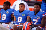 Florida Gators defensive backs Nick Washington, Quincey Wilson and Duke Dawson as the University of Florida Gators fotball team scrimmages for the final time this spring in the annual Orange and Blue Debut at Ben Hill Griffin Stadium.  April 8th, 2016.  Gator Country Photo by David Bowie.