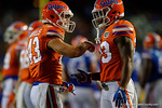 Florida Gators defensive back Mark Norvelis and Florida Gators defensive back Chauncey Gardner, as the University of Florida Gators fotball team scrimmages for the final time this spring in the annual Orange and Blue Debut at Ben Hill Griffin Stadium.  April 8th, 2016.  Gator Country Photo by David Bowie.