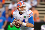 Florida Gators quarterback Luke Del Rio drops back to pass, as the University of Florida Gators fotball team scrimmages for the final time this spring in the annual Orange and Blue Debut at Ben Hill Griffin Stadium.  April 8th, 2016.  Gator Country Photo by David Bowie.