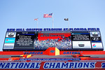 The jumbo tron during the national anthem as the University of Florida Gators fotball team scrimmages for the final time this spring in the annual Orange and Blue Debut at Ben Hill Griffin Stadium.  April 8th, 2016.  Gator Country Photo by David Bowie.