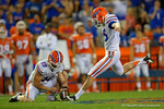 Florida Gators kicker Eddy Pineiro kicks in his third field goal of the night, as the University of Florida Gators fotball team scrimmages for the final time this spring in the annual Orange and Blue Debut at Ben Hill Griffin Stadium.  April 8th, 2016.  Gator Country Photo by David Bowie.
