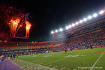 The Florida Gators football Orange and Blue Debut concludes with a fireworks show, as the University of Florida Gators fotball team scrimmages for the final time this spring in the annual Orange and Blue Debut at Ben Hill Griffin Stadium.  April 8th, 2016.  Gator Country Photo by David Bowie.
