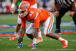 Florida Gators defensive lineman Jordan Smith getting set at the line, as the University of Florida Gators fotball team scrimmages for the final time this spring in the annual Orange and Blue Debut at Ben Hill Griffin Stadium.  April 8th, 2016.  Gator Country Photo by David Bowie.