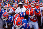 Former Gator and current WWE Superstar Thaddeus Bullard getting the Gators pumped up as they take field, as the University of Florida Gators fotball team scrimmages for the final time this spring in the annual Orange and Blue Debut at Ben Hill Griffin Stadium.  April 8th, 2016.  Gator Country Photo by David Bowie.