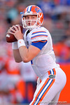 Florida Gators quarterback Kyle Trask throwing during pre-game drills as the University of Florida Gators fotball team scrimmages for the final time this spring in the annual Orange and Blue Debut at Ben Hill Griffin Stadium.  April 8th, 2016.  Gator Country Photo by David Bowie.