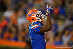 Florida Gators wide receiver Dre Massey points to the sky after he scores a touchdown, as the University of Florida Gators fotball team scrimmages for the final time this spring in the annual Orange and Blue Debut at Ben Hill Griffin Stadium.  April 8th, 2016.  Gator Country Photo by David Bowie.