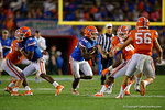 Florida Gators running back Jordan Cronkrite finds a hole and sprints upfield, as the University of Florida Gators fotball team scrimmages for the final time this spring in the annual Orange and Blue Debut at Ben Hill Griffin Stadium.  April 8th, 2016.  Gator Country Photo by David Bowie.