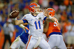 Florida Gators quarterback Kyle Trask throwing downfield, as the University of Florida Gators fotball team scrimmages for the final time this spring in the annual Orange and Blue Debut at Ben Hill Griffin Stadium.  April 8th, 2016.  Gator Country Photo by David Bowie.