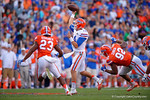 Florida Gators quarterback Luke Del Rio throwing his first touchdown of the day, as the University of Florida Gators fotball team scrimmages for the final time this spring in the annual Orange and Blue Debut at Ben Hill Griffin Stadium.  April 8th, 2016.  Gator Country Photo by David Bowie.