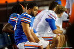 Florida Gators wide receiver Ryan Sousa watches on from the bench, as the University of Florida Gators fotball team scrimmages for the final time this spring in the annual Orange and Blue Debut at Ben Hill Griffin Stadium.  April 8th, 2016.  Gator Country Photo by David Bowie.