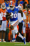 Florida Gators tight end C'yontai Lewis makes a catch and turns upfield, as the University of Florida Gators fotball team scrimmages for the final time this spring in the annual Orange and Blue Debut at Ben Hill Griffin Stadium.  April 8th, 2016.  Gator Country Photo by David Bowie.