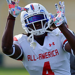 Florida Gators recruit wide receiver James Robinson practices and run drills during the third day of practice for the 2016 Under Armour All-America High School Football Game at the ESPN Wide World of Sports in Orlando, Florida  December 38th, 2016. Gator Country photo by David Bowie.