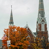 Foliage as seen in front of Pilgrim Congregational Church in Leominster this October. SENTINEL & ENTERPRISE / Ashley Green