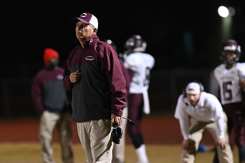 Nash Central coach during tonights game.Nash Central defeats Fike 48-20 Thursday evening November 10, 2016 in Wilson, NC (Photos by Anthony Barham / WRAL contributor.)