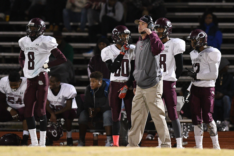 Nash Central coach looks on during tonights game.Nash Central defeats Fike 48-20 Thursday evening November 10, 2016 in Wilson, NC (Photos by Anthony Barham / WRAL contributor.)