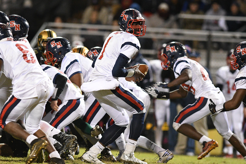 """Southern Nash Matt """"toonice"""" hampton (1) during tonights game.Southern Nash defeats Northern Nash 28-11 Thursday evening November 10, 2016 in Rocky Mount, NC (Photos by Anthony Barham / WRAL contributor.)"""