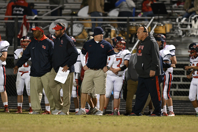 Southern Nash coaches during tonights game.Southern Nash defeats Northern Nash 28-11 Thursday evening November 10, 2016 in Rocky Mount, NC (Photos by Anthony Barham / WRAL contributor.)