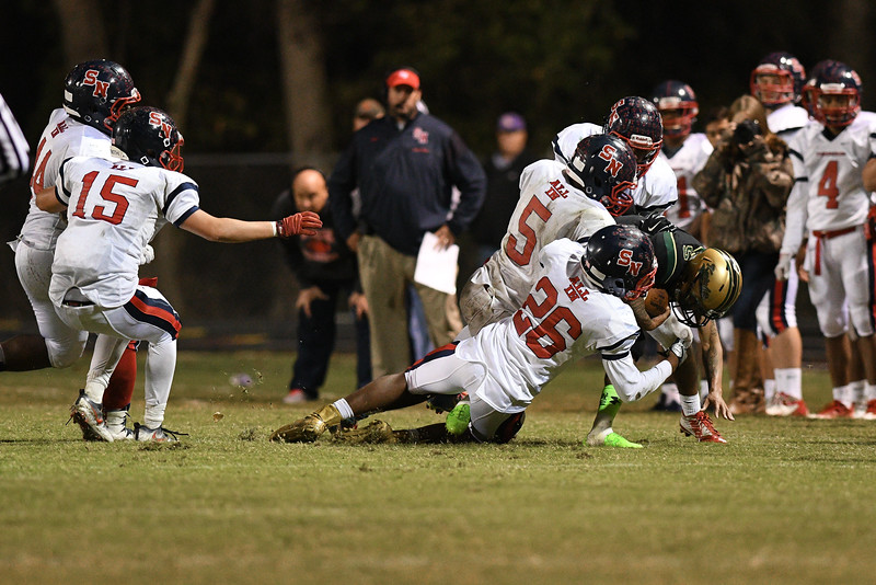 Southern Nash Dae'one Wilkins (5) Northern Nash Decarlo Royster jr (5) during tonights game.Southern Nash defeats Northern Nash 28-11 Thursday evening November 10, 2016 in Rocky Mount, NC (Photos by Anthony Barham / WRAL contributor.)