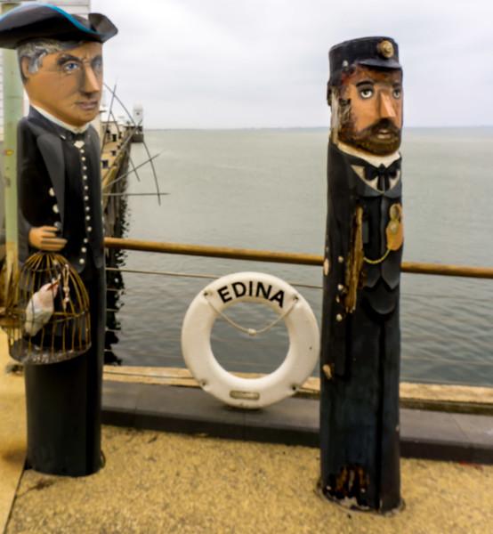 Bollard Sculptures - two salty sea-dogs