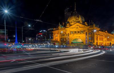 Light Trails & Flinders Street Station