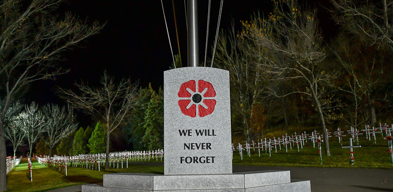 Over 3000 crosses are placed in the memorial park from November 1 – 11 to signify the ultimate sacrifice so many made fighting for the freedoms we enjoy today.