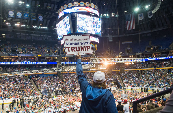 A supporter holds up a sign as Donald Trump speaks at a campaign rally Monday, April 18, 2016, in Buffalo.(Joed Viera/Lockport Union Sun & Journal)