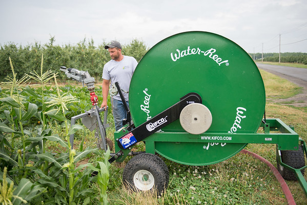 JOED VIERA/STAFF PHOTOGRAPHER- Lockport, NY-Jeff Hiller checks out his irrigation system at Hiller's Farm.