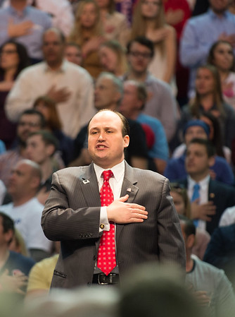 Erie County Republican Committee Chairman Nicholas A. Langworthy pledges allegiance to the USA at Donald Trump's campaign rally Monday, April 18, 2016, in Buffalo.(Joed Viera/Lockport Union Sun & Journal)