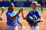 Florida Gators pitcher Aleshia Ocasio and Florida Gators catcher Aubree Munro as the #1 ranked Florida Gators softball team defeats the Illinois State Redbords 11-1 at Katie Seashole Pressly Softball Stadium.  March 6th, 2016. Gator Country photo by David Bowie.