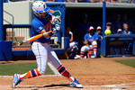Florida Gators outfielder Kirsti Merritt swings away at a pitch as the #1 ranked Florida Gators softball team defeats the Illinois State Redbords 11-1 at Katie Seashole Pressly Softball Stadium.  March 6th, 2016. Gator Country photo by David Bowie.