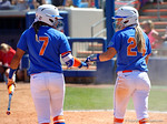 Florida Gators infielder Kelsey Stewart and Florida Gators outfielder Kirsti Merritt as the #1 ranked Florida Gators softball team defeats the Illinois State Redbords 11-1 at Katie Seashole Pressly Softball Stadium.  March 6th, 2016. Gator Country photo by David Bowie.
