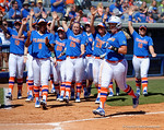 Florida Gators first baseman Kayli Kvistad launches a home run to tie the game 1-1 as the #1 ranked Florida Gators softball team defeats the Illinois State Redbirds 11-1 at Katie Seashole Pressly Softball Stadium.  March 6th, 2016. Gator Country photo by David Bowie.