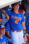 Florida Gators outfielder Lily Mann cheers on from the dugout as the #1 ranked Florida Gators softball team defeats the Illinois State Redbords 11-1 at Katie Seashole Pressly Softball Stadium.  March 6th, 2016. Gator Country photo by David Bowie.